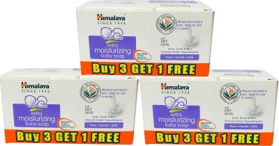 Himalaya Extra Moisturizing Baby Soap 75 gms (Buy 3 Get1) Pack of 3- (12Pcs)(900 g, Pack of 12)