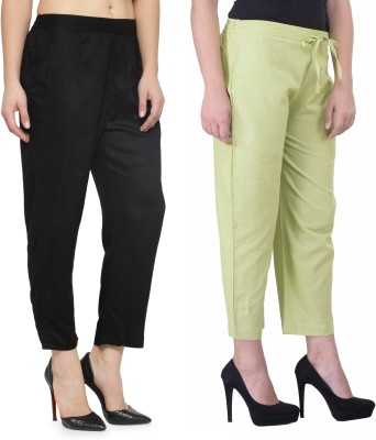 Laabha Regular Fit Women Black, Light Green Trousers
