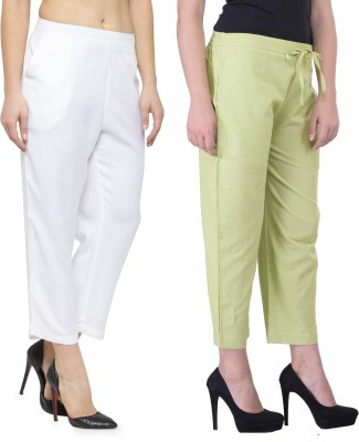 Laabha Regular Fit Women White, Light Green Trousers