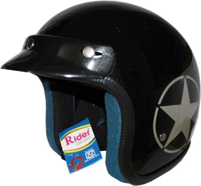 RIDER Open Face ISI Mark Solid Plastic Motorbike Helmet(Black)  available at flipkart for Rs.589