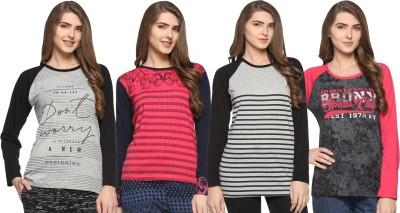 69GAL Girls Printed Cotton Blend T Shirt(Multicolor, Pack of 4) at flipkart