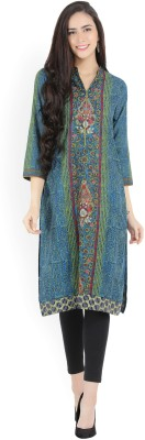 Biba Printed Women Straight Kurta(Blue, Green)