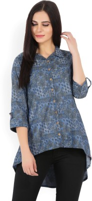 Biba Women Printed A-line Kurta(Blue, Grey)