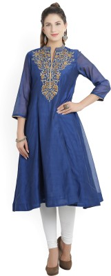 Biba Embroidered Women Flared Kurta(Blue)