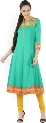 Biba Printed Women Flared Kurta(Green, Multicolor)