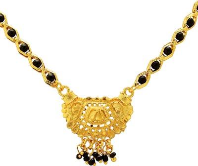 Memoir Gold plated Black bead Tanmaniya Brass Mangalsutra