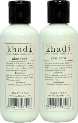 Khadi Herbal Aloe Vera Moisturising Lotion 420 Ml ( Pack Of 2 )(420 ml)  available at flipkart for Rs.240
