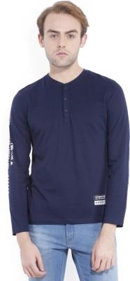 Locomotive Solid Men's Round Neck Dark Blue T-Shirt