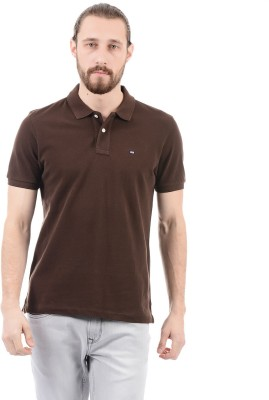 Arrow Sport Solid Men Polo Neck Brown T-Shirt  available at flipkart for Rs.499