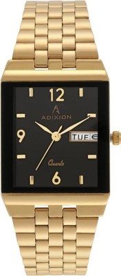 ADIXION 9519SLD02 : New Leather Strep Stainless Steel Day & Date Youth Watch Watch  - For Men & Women