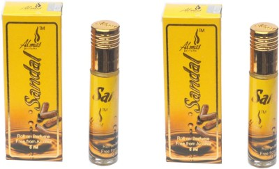 Almas Highly Concentrated Roll-On Perfume 8ml {Pack Of 2 } Floral Attar(Sandalwood) at flipkart