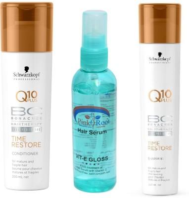 Schwarzkopf Q10 Plus Time Restore Conditioner+Shampoo with Pink Root Hair Serum(Set of 3)