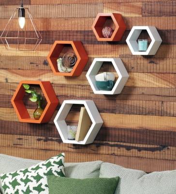 996425e49fc9 73% OFF on Gorevizon Orange   White MDF Hexagon Wall Shelf - Set of 6 MDF Wall  Shelf(Number of Shelves - 6