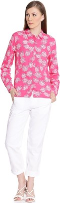 United Colors of Benetton Women Printed Casual Pink Shirt