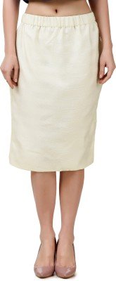 Fame16 Solid Women Tulip Beige Skirt at flipkart
