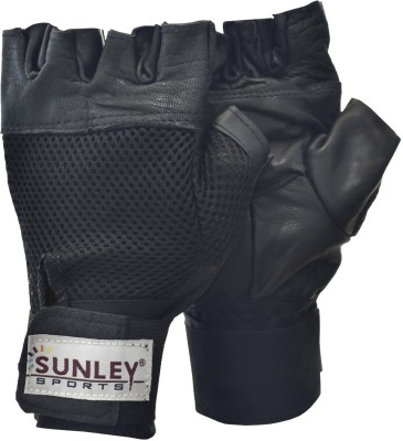 sunley gym gloves with wrist support Gym & Fitness Gloves (Free Size, Black)  available at flipkart for Rs.149
