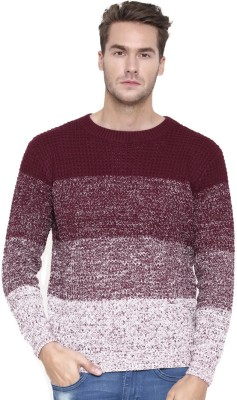 Kook N Keech Self Design Round Neck Casual Men Maroon Sweater at flipkart