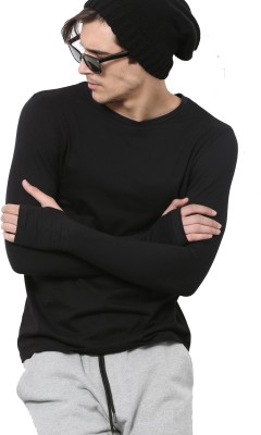 PAUSE Solid Men's Round Neck Black T-Shirt