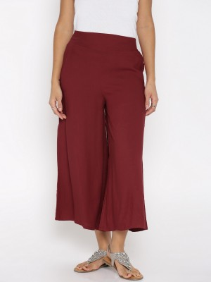 DARZI Flared Women Maroon Trousers