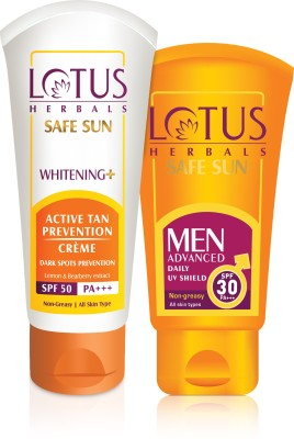 lotus herbals SPF 50 Whitening Plus Active Tan Prevention Creme with Lemon & Bearberry Extract 50 gms and MEN advanced daliy uv shield SPF 30 PA+++ 100g(Set of 2)