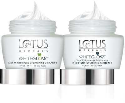 lotus herbals White Glow Skin Whitening & Brightening Gel Cream 60 g and deep Moisturising Creme 60g(Set of 2)