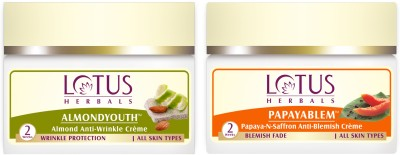 lotus herbals Almond Youth Anti-Wrinkle Cream 50G and Papayablem papaya-N-saffron Anti-Blemish Crème 50 g(Set of 2)