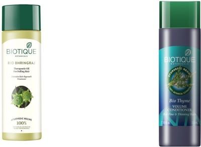 Biotique Anti-Hair Fall Combo-Bio Bhringraj Fresh oil for falling Hair 200ml and Bio Kelp Protein Shampoo For Falling Hair 190 ml(Set of 2)  available at flipkart for Rs.424