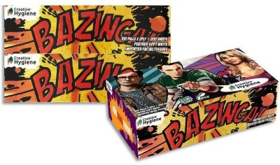 Creative Hygiene Creative Hygiene The Big Bang Theory Facial Tissue Paper Box 2 Ply 100 Pulls Pack Of 3(Pack of 600)  available at flipkart for Rs.195