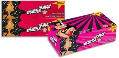 Creative Hygiene Creative Hygiene Wonder Woman Facial Tissue Paper Box 2 Ply 100 Pulls Pack Of 3(Pack of 600)  available at flipkart for Rs.232
