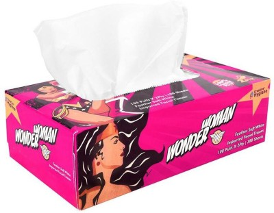 Creative Hygiene Creative Hygiene Wonder Woman Facial Tissue Paper Box 2 Ply 100 Pulls(Pack of 200)  available at flipkart for Rs.80