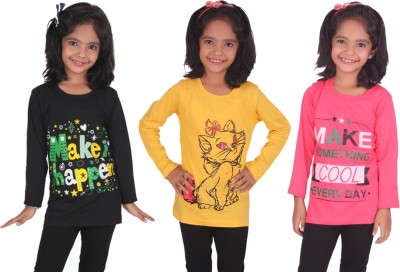Diaz Girls Printed Cotton T Shirt(Black, Pack of 3)