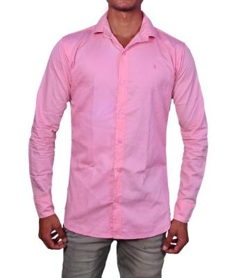 layba Men's Solid Formal Pink Shirt