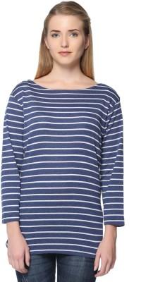 HARBOR N BAY Casual 3/4 Sleeve Striped Women Dark Blue Top