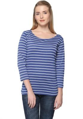 HARBOR N BAY Casual 3/4 Sleeve Striped Women Blue Top