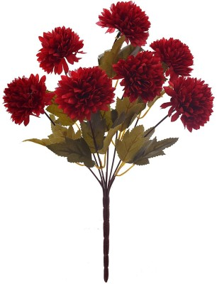 Fourwalls Fourwalls Chrysanthemum Ball Flower Bouquet (49 cm, Red, 7 Branches) Multicolor Assorted Artificial Flower(10 inch, Pack of 1)  available at flipkart for Rs.175