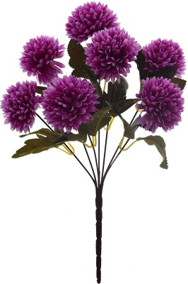 Fourwalls Fourwalls Chrysanthemum Ball Flower Bouquet (49 cm, Dark Purple, 7 Branches) Multicolor Assorted Artificial Flower(10 inch, Pack of 1)  available at flipkart for Rs.175