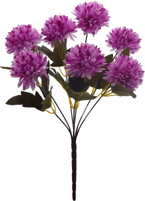 Fourwalls Fourwalls Chrysanthemum Ball Flower Bouquet (49 cm, Light Purple, 7 Branches) Multicolor Assorted Artificial Flower(10 inch, Pack of 1)  available at flipkart for Rs.175