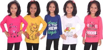 Diaz Girls Printed Cotton T Shirt(Pink, Pack of 5)