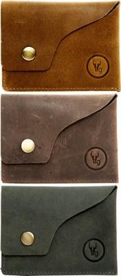 hidegear Men Tan, Brown, Grey Genuine Leather Card Holder(8 Card Slots) at flipkart