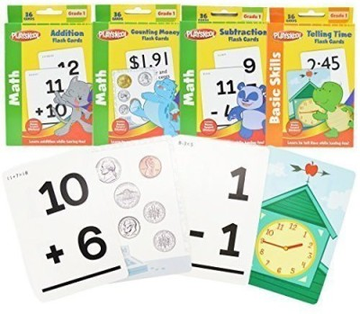 Playskool Grade Math Flash Cards with Stickers(Multicolor)