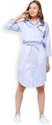 Tokyo Talkies Women Shirt White, Blue Dress at flipkart