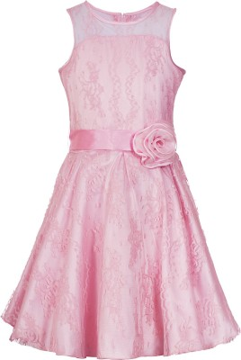 Naughty Ninos Girls Midi/Knee Length Party Dress(Pink, Sleeveless)