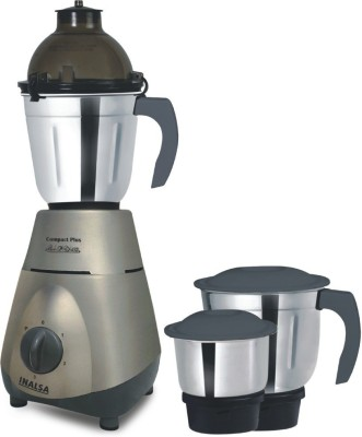 Inalsa COMPACT PLUS 750 W Mixer Grinder(STEEL GREY, 3 Jars)  available at flipkart for Rs.2522