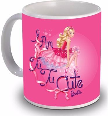 New Star Light India Cute Barbie Doll Printed Dark Pink Color Kids Ceramic Mug(350 ml)  available at flipkart for Rs.299