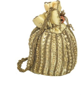 Kuber Industries Ethnic Mirror Work Rajasthani Potli Bag / Clutch / Bridal Clutch Potli(Multicolor)  available at flipkart for Rs.299