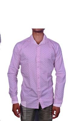 Layba Men's Printed Formal White Shirt