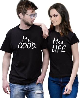 GOLDBOX Self Design Men & Women Round Neck Black T-Shirt(Pack of 2)