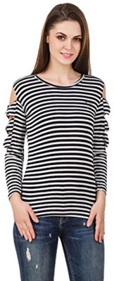 Mitra Creations Casual Full Sleeve Striped Women White, Black Top