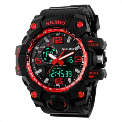 Skmei Multifunctional Outdoor Sports Dual Time Red Dial Watch  - For Men