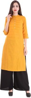 Style N Shades Women Solid Straight Kurta(Yellow)